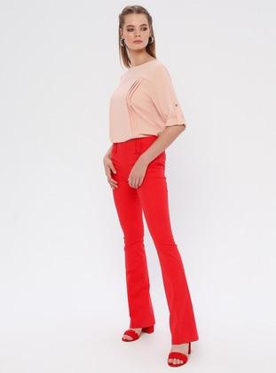 Red - Cotton - Nylon - Pants