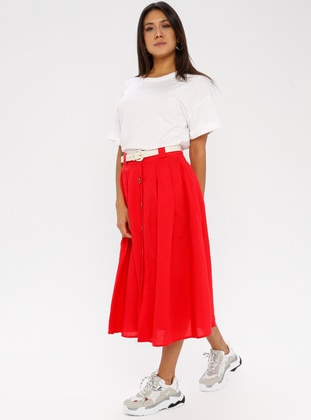 Red - Half Lined - Cotton - Rayon - Skirt
