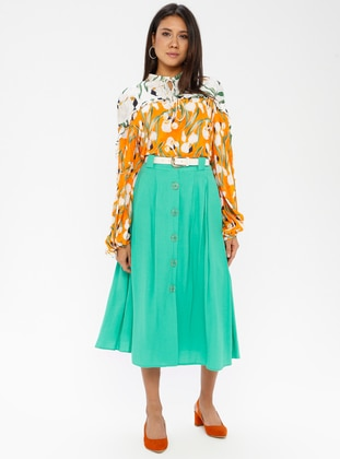Green - Cotton - Rayon - Skirt