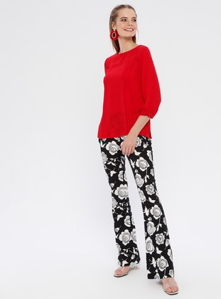 Black - Floral - Cotton - Pants