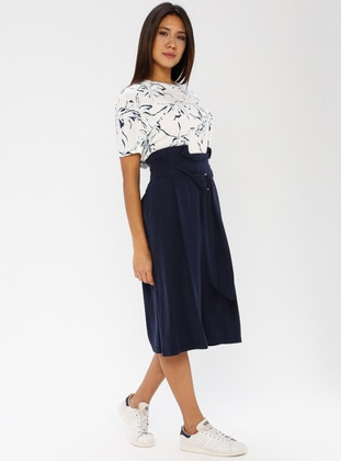 Navy Blue - Cotton - Rayon - Culottes