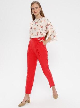 Coral - Cotton - Viscose - Pants
