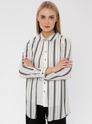 White - Stripe - Point Collar - Blouses