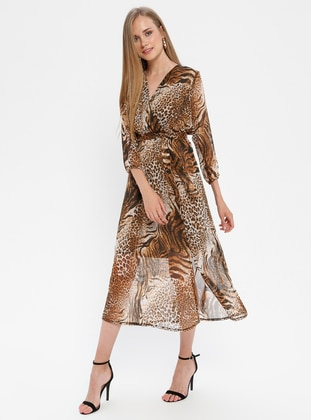Leopard - Multi - Shawl Collar - Half Lined - Dress