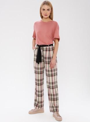 Beige - Checkered - Viscose - Pants