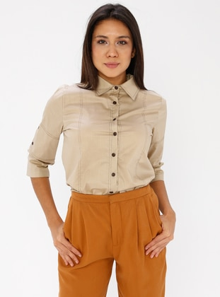 Camel - Point Collar - Cotton - Blouses