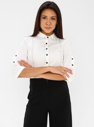 White - Ecru - Point Collar - Cotton - Blouses