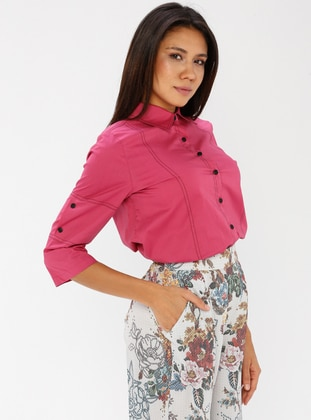 Pink - Fuchsia - Point Collar - Cotton - Blouses