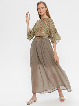 Khaki - Half Lined - Skirt