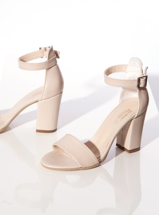 Rayon - Beige - High Heel - Heels - Ayakkabı Havuzu