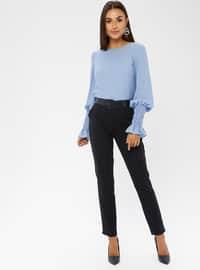 Navy Blue - Cotton - Nylon - Pants