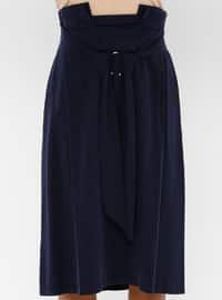 Navy Blue - Cotton - Rayon - Culottes