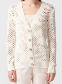 Ecru - V neck Collar - Cotton - Cardigan