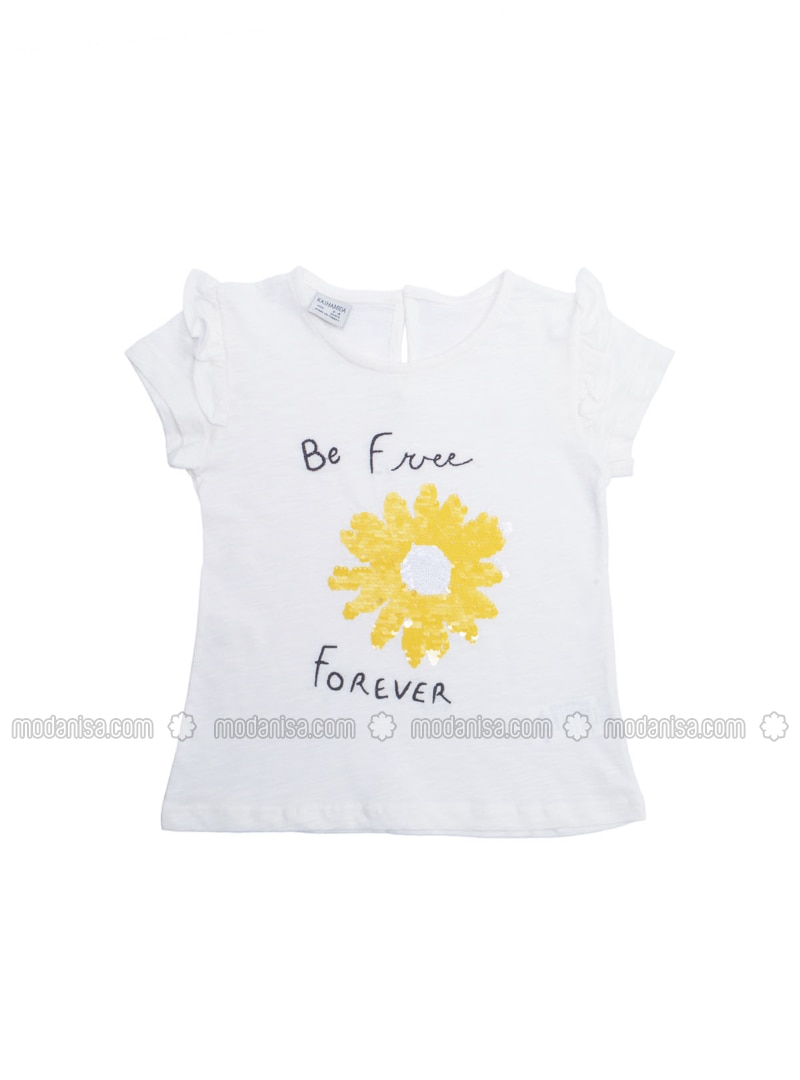 Crew neck - Ecru - Girls` T-Shirt