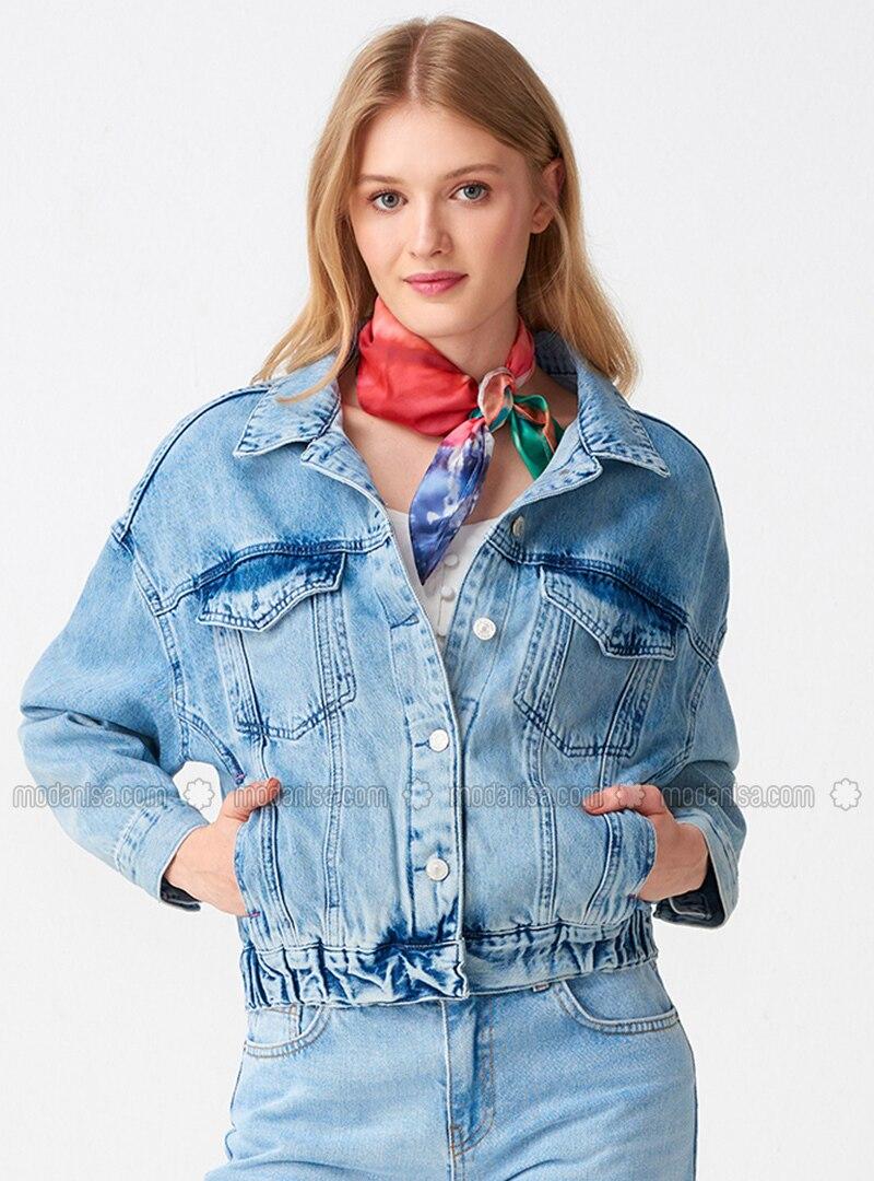 Blue - Unlined - Point Collar - Cotton - Denim - Puffer Jackets