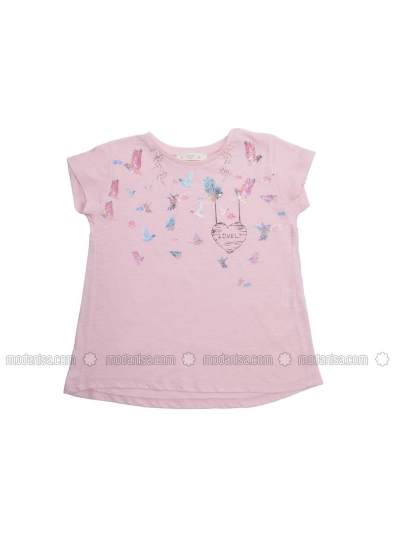 Heart Print - Crew neck - Pink - Girls` T-Shirt