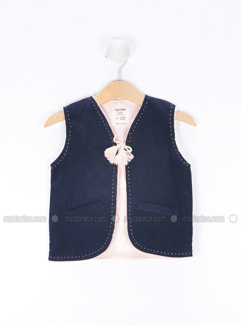 2e55e06ba V neck Collar - Navy Blue - Baby Vest