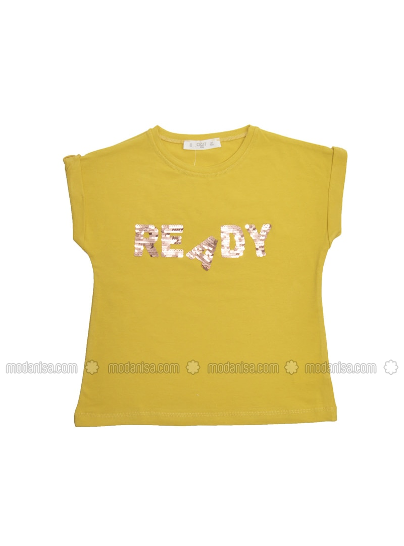 Crew neck - Mustard - Girls` T-Shirt