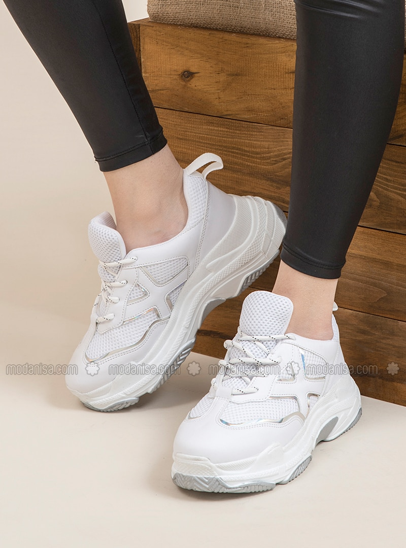 White - Silver tone - Sport - Sports Shoes