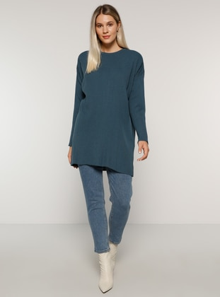 Indigo - Blue - Crew neck - Acrylic -  - Plus Size Tunic