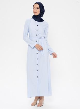 Blue - Baby Blue - Crew neck - Unlined - Cotton - Dress