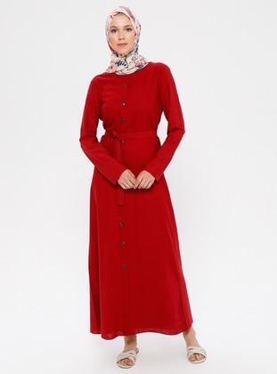 Maroon - Crew neck - Unlined - Cotton - Dress