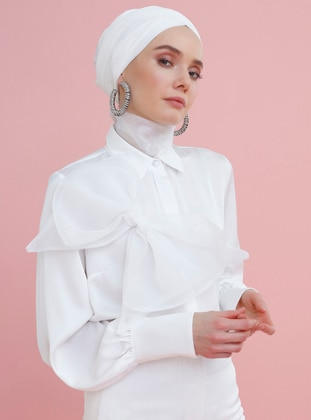 White - Ecru - Point Collar - Blouses