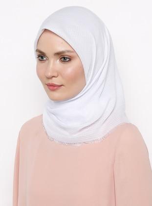 White - Ecru - Plain - Viscose - Scarf