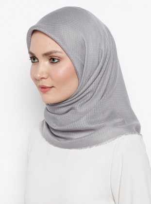 Gray - Plain - Viscose - Scarf