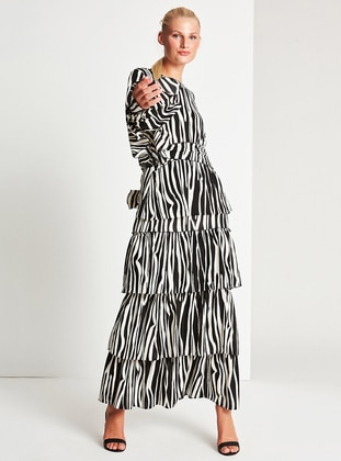 White - Black - Zebra - Fully Lined - Skirt