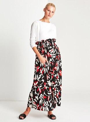 Red - Multi - Unlined - Skirt