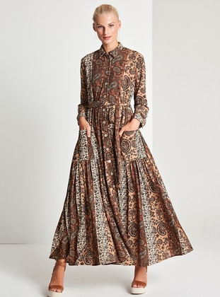 Brown - Multi - Button Collar - Point Collar - Fully Lined - Dress