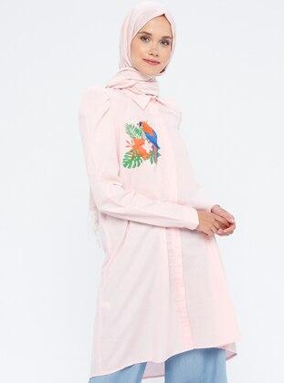 White - Powder - Point Collar - Cotton - Tunic