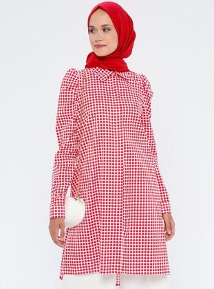 Red - Polka Dot - Point Collar - Cotton - Tunic