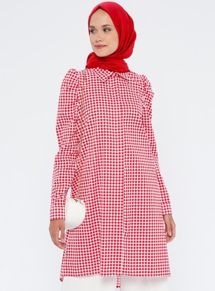 Red - Polka Dot - Point Collar - Cotton - Tunic