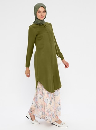 Khaki - Point Collar - Viscose - Tunic