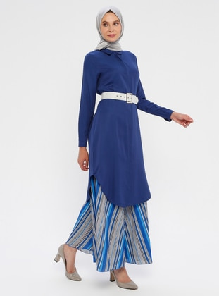 Blue - Saxe - Point Collar - Viscose - Tunic