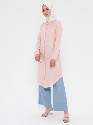 Powder - Point Collar - Viscose - Tunic