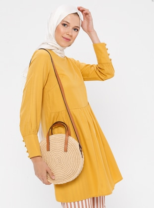 Yellow - Mustard - Crew neck - Tunic