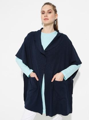 Navy Blue - Shawl Collar - Unlined -  - Poncho - Muni Muni