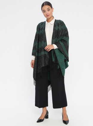 Black - Green - Multi - Unlined - Poncho