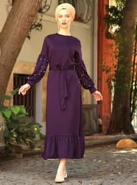 Purple - Crew neck - Unlined - Cotton - Acrylic - Dress