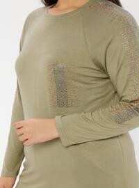 Khaki - Crew neck - Viscose - Plus Size Tunic