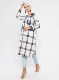 Blue - Plaid - Crew neck - Tunic