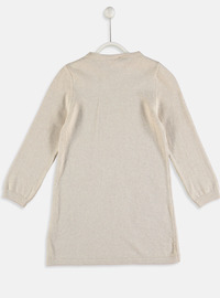 Printed - Beige - Girls` Dress