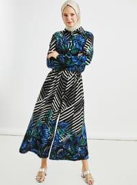 Mavi - Çiçekli - Astarsız kumaş - Düğmeli yaka - Fransız yaka - Tulum