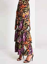 Brown - Multi - Fully Lined - Skirt