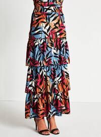 Blue - Orange - Multi - Fully Lined - Skirt