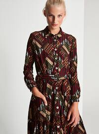 Maroon - Khaki - Multi - Button Collar - Point Collar - Fully Lined - Dress
