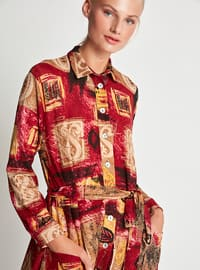 Red - Multi - Button Collar - Point Collar - Fully Lined - Dress